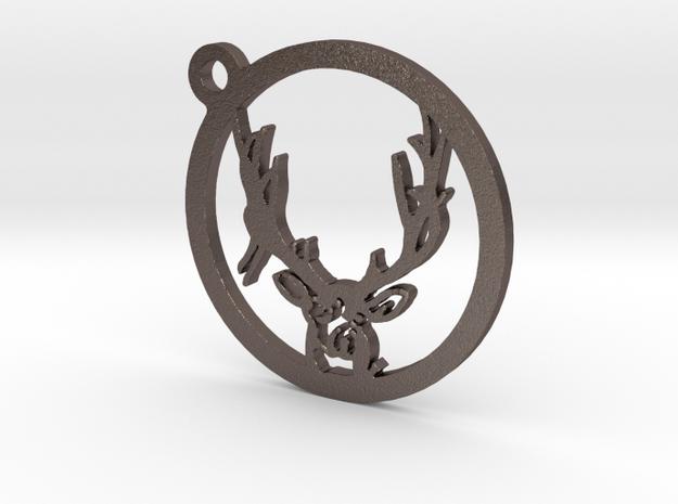 Mule Deer Keychain 2 in Polished Bronzed Silver Steel