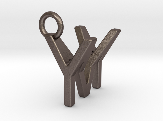 Two way letter pendant - MY YM in Polished Bronzed Silver Steel
