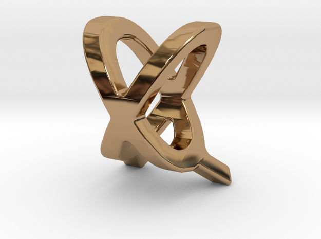 Two way letter pendant - QX XQ in Polished Brass