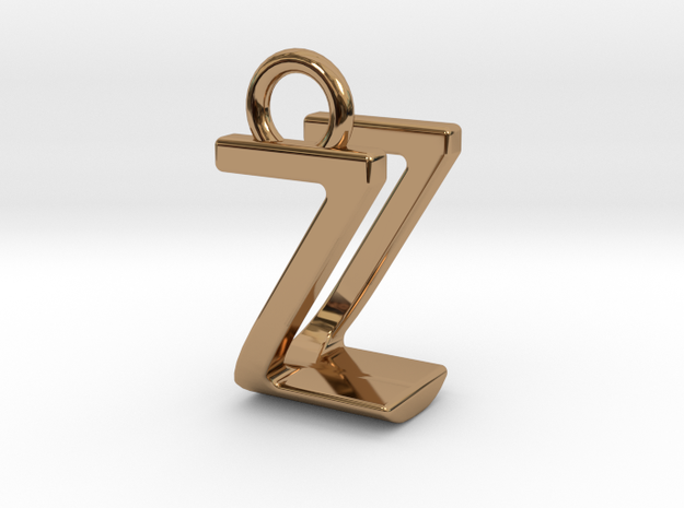 Two way letter pendant - UZ ZU in Polished Brass