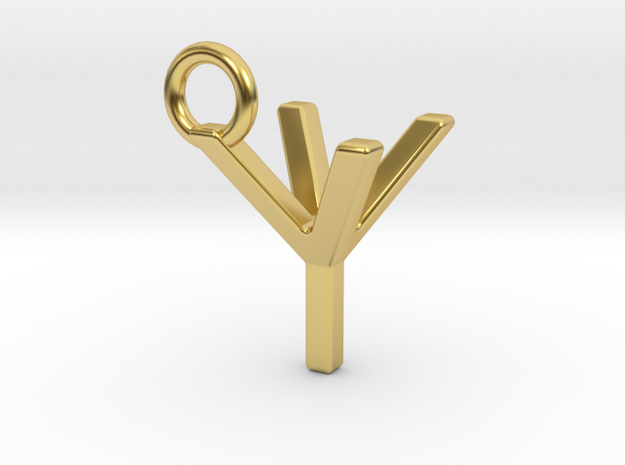 Two way letter pendant - YY Y in Polished Brass