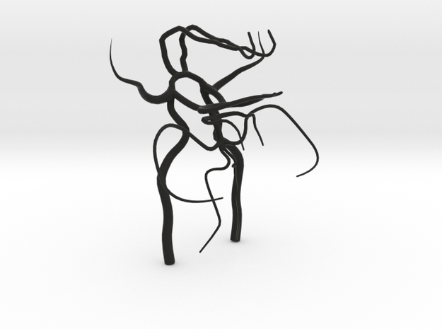 Circle of willis - brain vasculature 3d model in Black Strong & Flexible