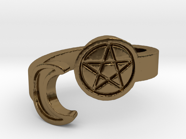 Crescent Moon and Pentacle Ring Size 8.25 in Polished Bronze