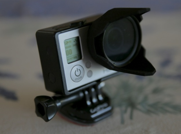 Sun hood and 37mm filter holder for GoPro 3d printed HERO3 Sunhood with 37mm filter in place