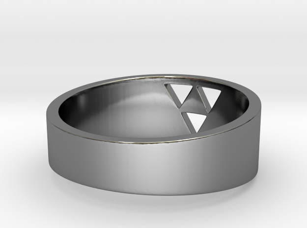 "Triforce Ring - 8"" in Fine Detail Polished Silver"