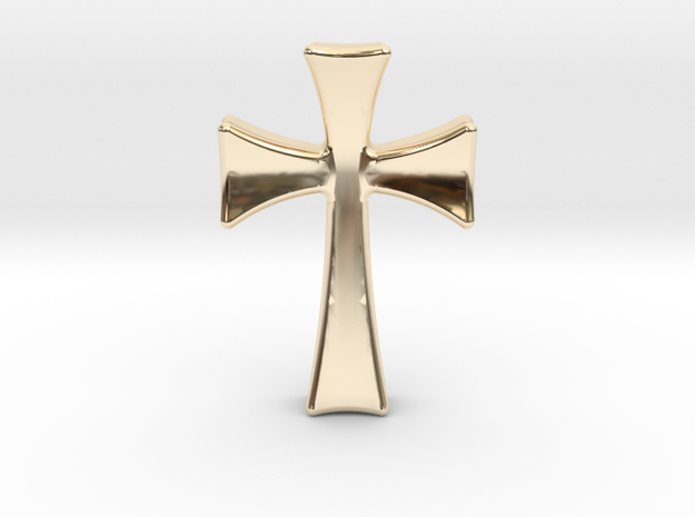 Germanic Cross Pendant, 45mm Tall in 14k Gold Plated Brass
