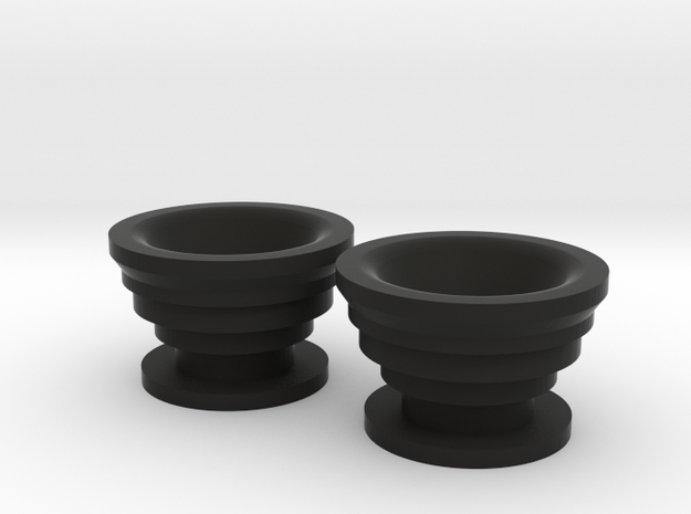 Guitar Strap Buttons - Stepped in Black Natural Versatile Plastic