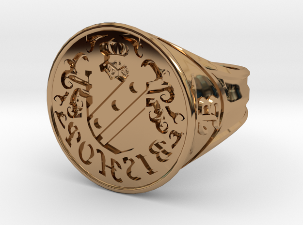 Bishop Family Signet Ring Size 12.5 in Polished Brass