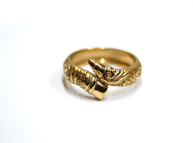 Artist's Pencil Ring Size 10 in Polished Bronze