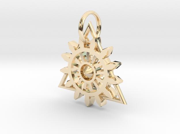 Steam Punk Gear Charm in 14k Gold Plated Brass