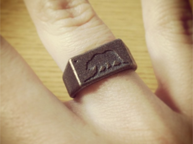 Size 6 - Ring of the Bear Flag Republic 3d printed In antique bronze