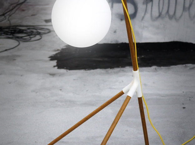 BROOM STICK FLOOR LAMP 3d printed there will be light - on my rooftop