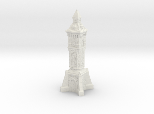 TT Gauge - Victorian Clock Tower in White Natural Versatile Plastic