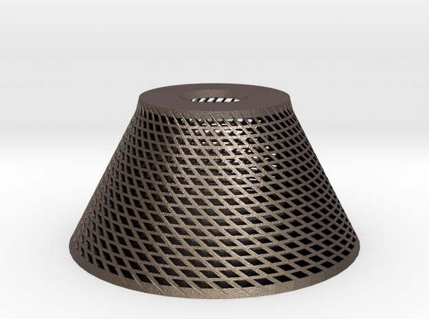Conical Lampshade in Polished Bronzed Silver Steel
