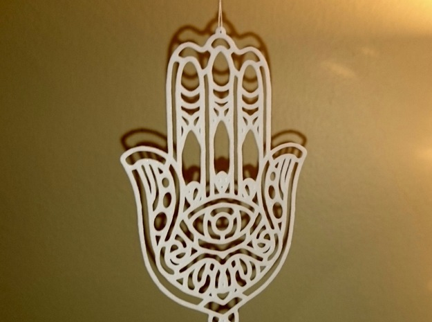 Khamsa (The Hand) in White Natural Versatile Plastic