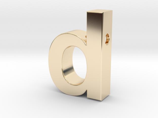 letter d pendant in helvetica font in 14k Gold Plated Brass