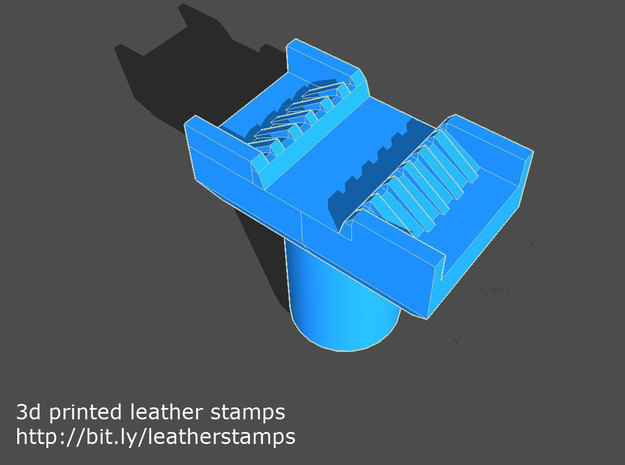 Leather stamp 1 + tool, for basketweave pattern to in Blue Strong & Flexible Polished