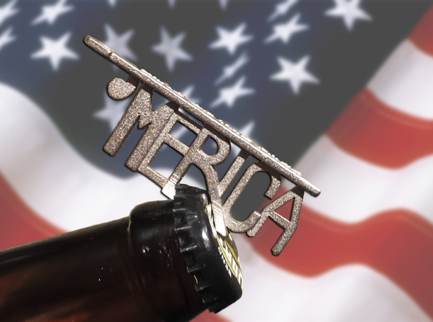 'MERICA Bottle Opener Keychain in Polished Nickel Steel