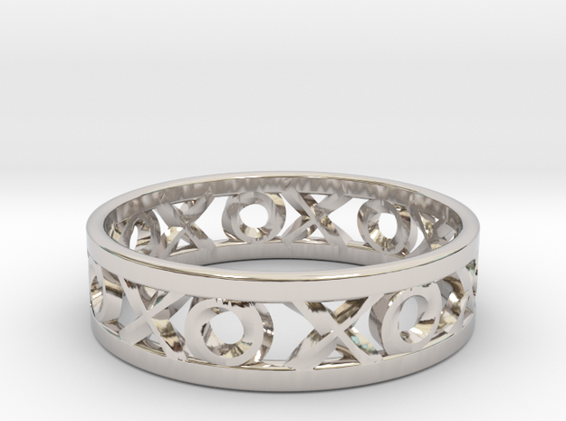 Size 6 Xoxo Ring in Rhodium Plated Brass