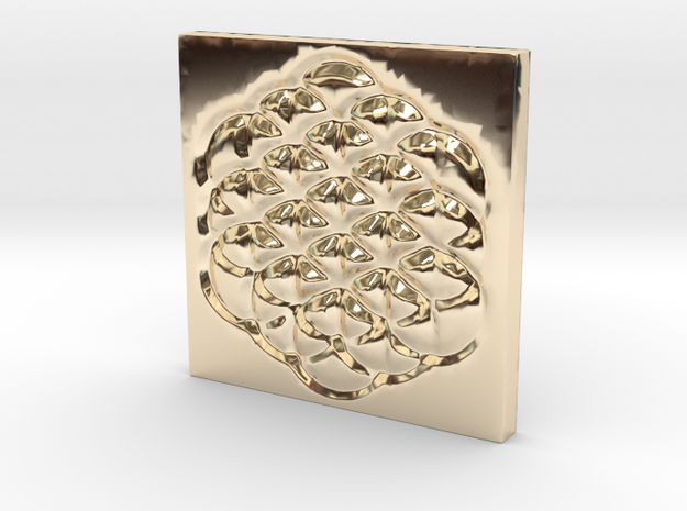 Flower of Life Square Pendant in 14K Yellow Gold