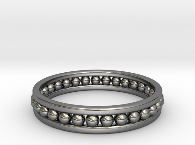 Beaded Ring in Fine Detail Polished Silver