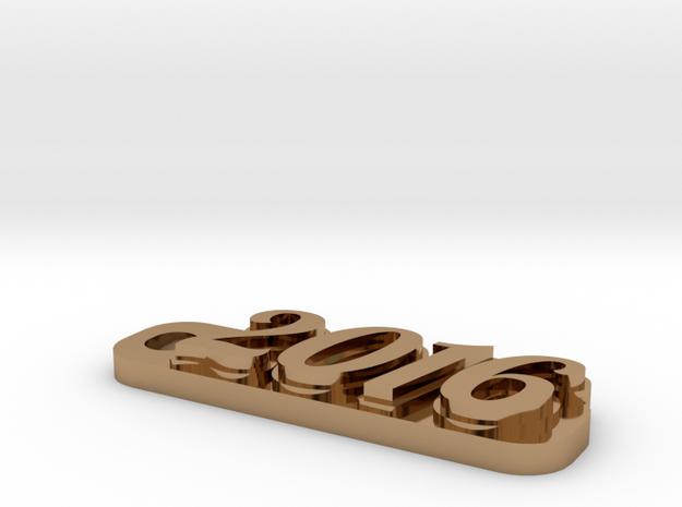 2016 keychain in Polished Brass