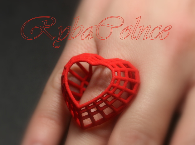 The Heart Diamond Ring / size 6 (16.5 mm diameter) in Red Processed Versatile Plastic