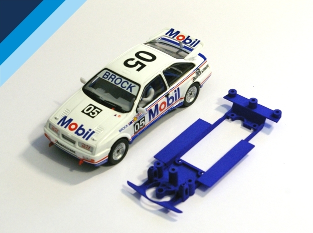 1/32 Chassis for Fly BMW M3 or Ninco Ford Sierra in Blue Processed Versatile Plastic