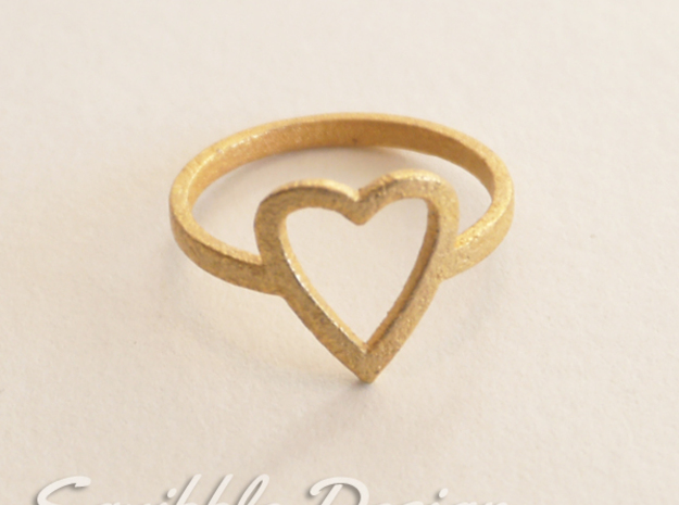 Kawaii Heart Ring 1 Size 7 in Polished Gold Steel