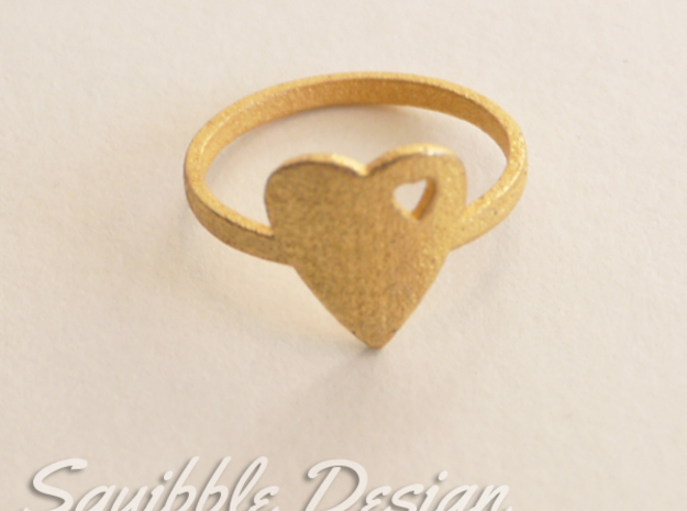 Kawaii Heart Ring 2 Size 7 in Polished Gold Steel