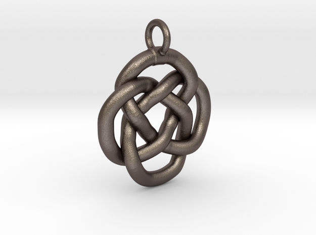 Knot keyring in Polished Bronzed Silver Steel