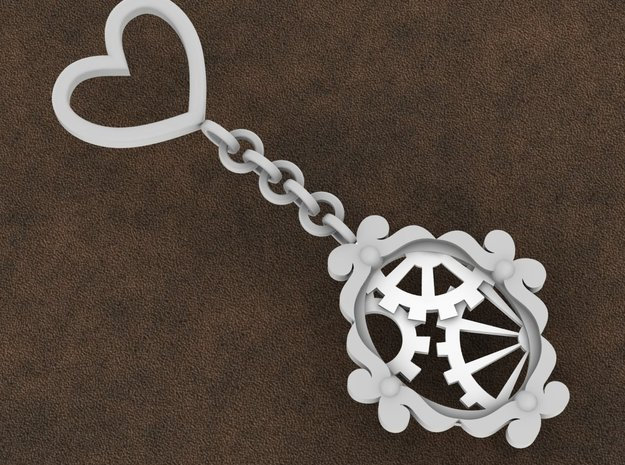 Victorian Timekeeper Key Ring Charm in White Processed Versatile Plastic