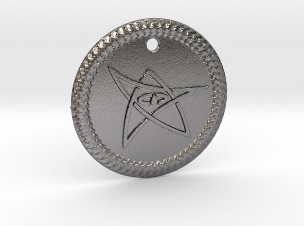 Elder Sign Pendant Alfa  in Polished Nickel Steel