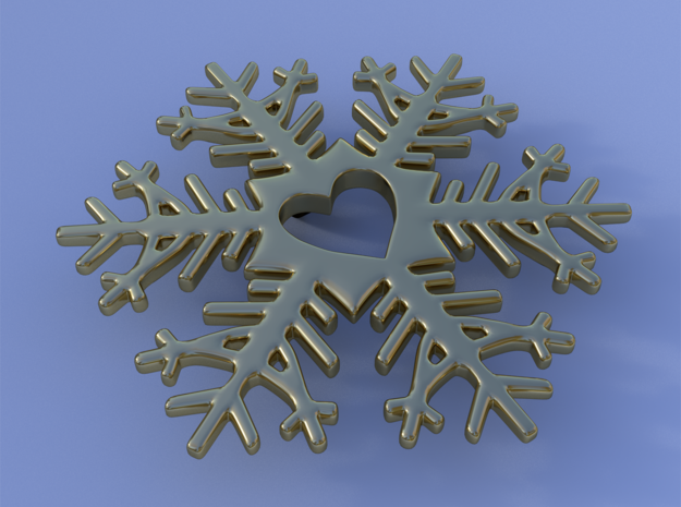 Snow heart in 14K Yellow Gold