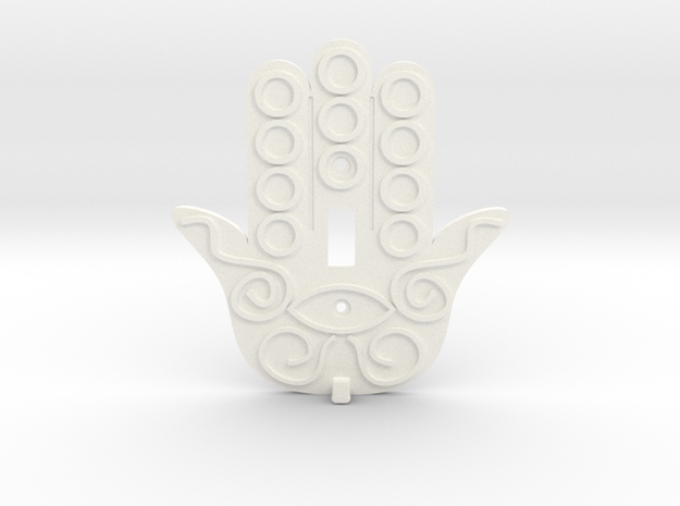 Hamsa Switch Plate with Key Hanger  - Xansibar Des in White Processed Versatile Plastic