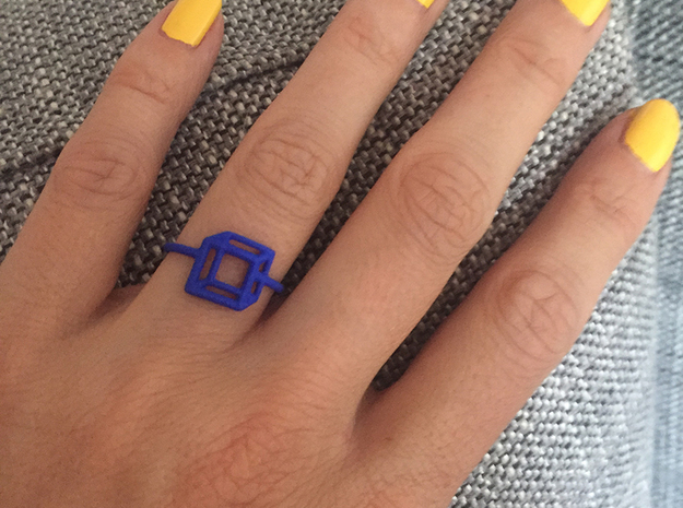 Adjustable 3D Flat Square Ring Size 6 in Blue Processed Versatile Plastic