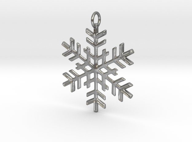 Snowflake Pendant in Natural Silver