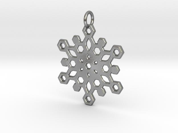 Snowflake Mandala Pendant in Natural Silver