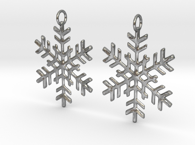Snowflake Earrings in Raw Silver