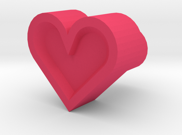 Leather stamp 11, heart shaped leatherstamp in Pink Processed Versatile Plastic