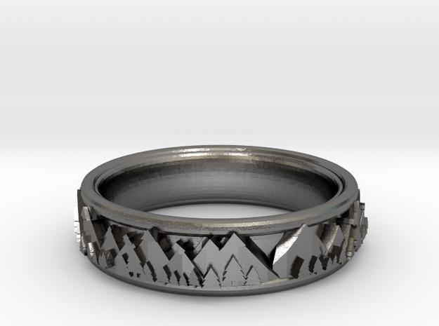 Mountain Landscape Ring, size 7 in Polished Nickel Steel