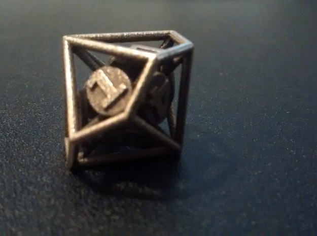 10-Sided Vector Die (1%s) in Polished Bronzed Silver Steel
