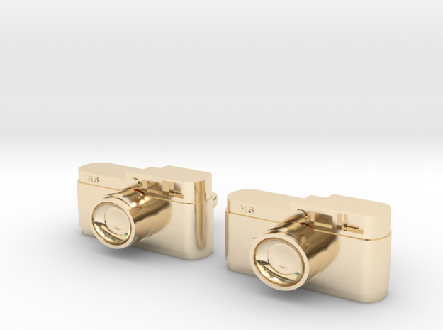 Camera Cuff Links in 14k Gold Plated Brass
