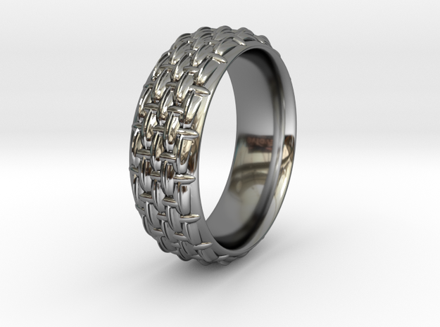 SCALES NARROW RING SIZE 10.5 in Fine Detail Polished Silver