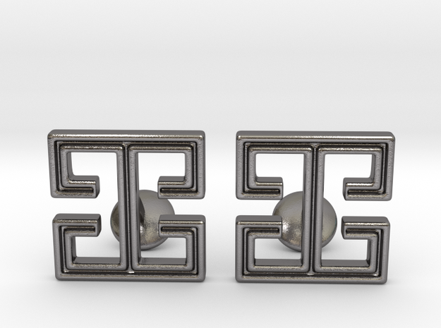 I cufflinks in Polished Nickel Steel