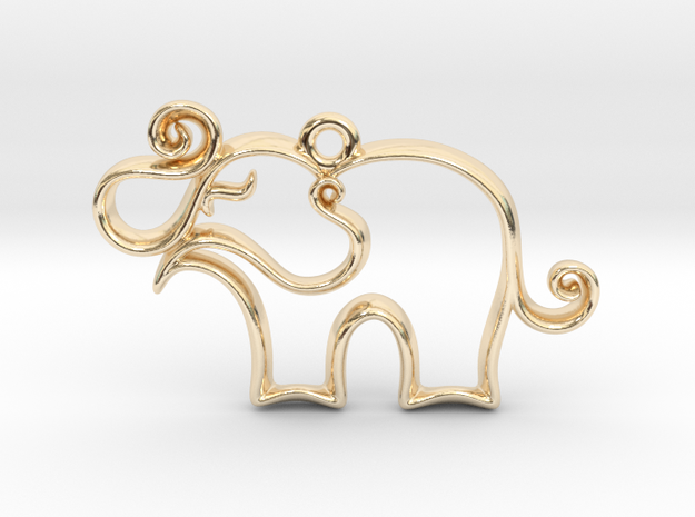 Tiny Elephant Charm in 14k Gold Plated Brass