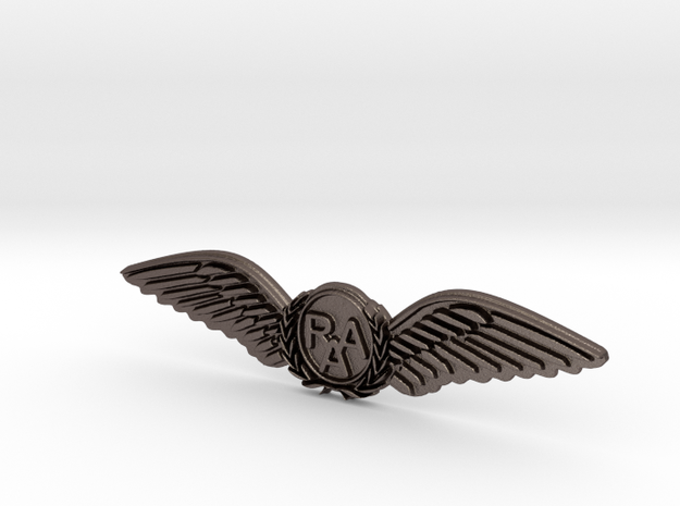 RAA (Recreational Aviation Australia) Wings-Brevet in Polished Bronzed Silver Steel