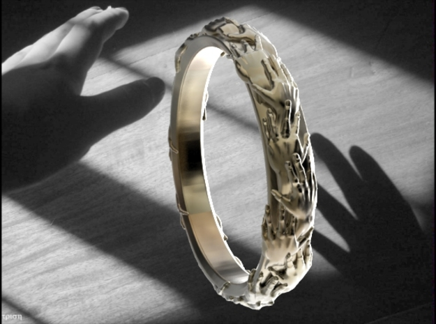 Ring of hands in Polished Silver