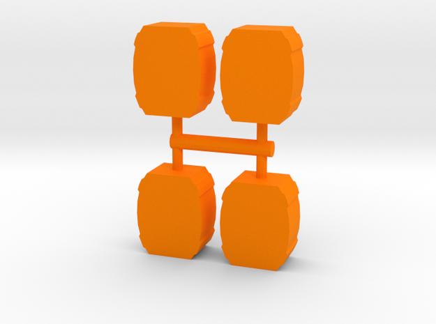 Barrel Meeple, 4-set in Orange Processed Versatile Plastic