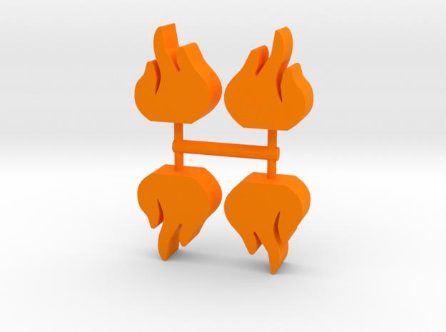 Game Piece, Flame 4-set in Orange Processed Versatile Plastic